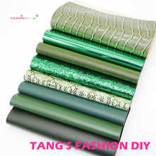 8pcs-High Quality NEW MIX STYLE Dark green color mix PU leather set/synthetic leather set/faux leather
