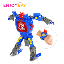 Enjoybay Cartoon Transformation Robot Wristwatch Toy Deformation Robot Action Model Figure Kids Electronic Projection Watch Toy
