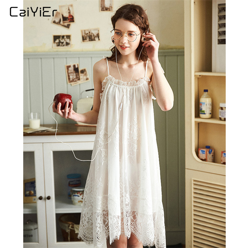 Caiyier White Sexy Nightgown Lingerie Lace Sleepwear Mini Sling Nightdress Women Spaghetti Strap Summer Night Dress Plus M-XXL