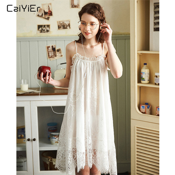 Caiyier White Sexy Nightgown Lingerie Lace Sleepwear Mini Sling Nightdress Women Spaghetti Strap Summer Night Dress Plus M-XXL caiyier black sexy lace night dress women lingerie deep v neck nightgown sling sleeveless with thong sleepwear summer nightdress