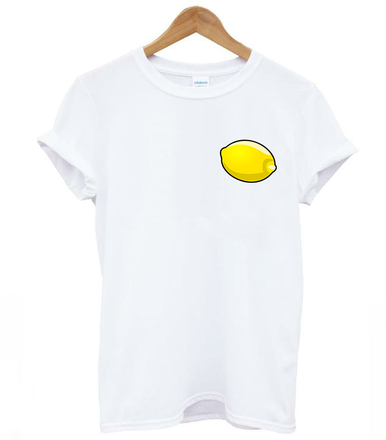 Cute lemon pocket print women tshirt cotton casual funny t for Pocket t shirt printing
