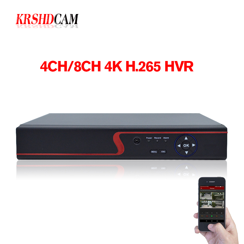 4K DVR 4CH/8CH HDTVI/HDCVI/AHD/CVBS Signal HDMI output at up to 4K 5MP/4MP/1080P output H.265