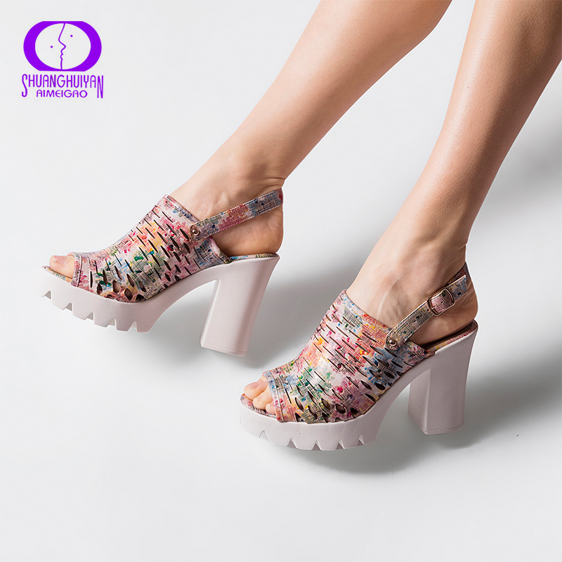 European Women Summer Platform High Heels Sandals Peep Toe Slingbacks Sandals Thick Heels Shoes Big Size Women Shoes