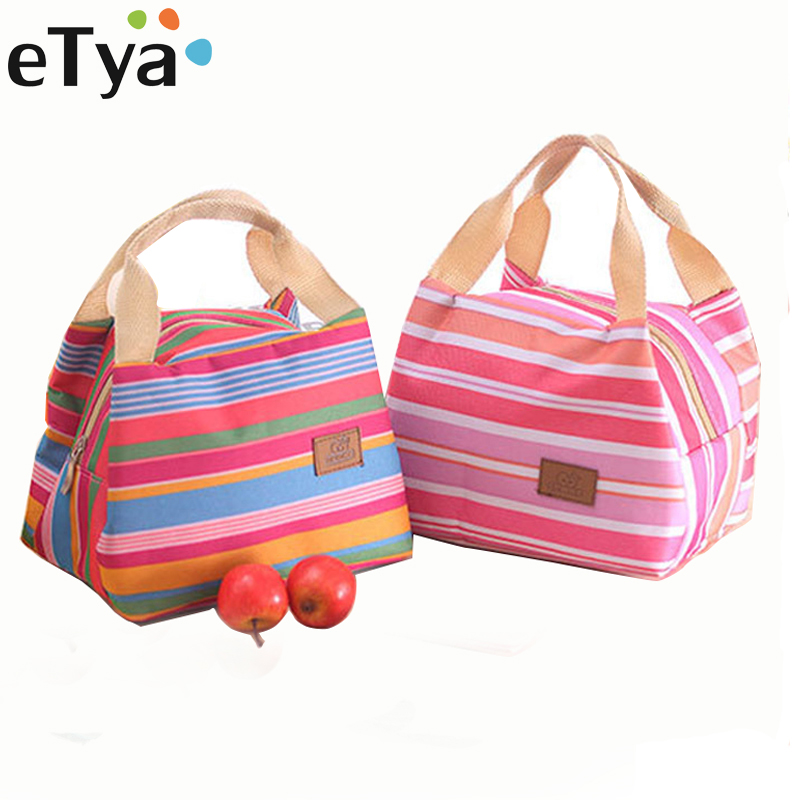 ETya Fashion Stripe Insulated Lunch Bag Tote Travel Picnic Bags For Women Men Kids Fresh Cooler Thermal Food Storage Lunch Box