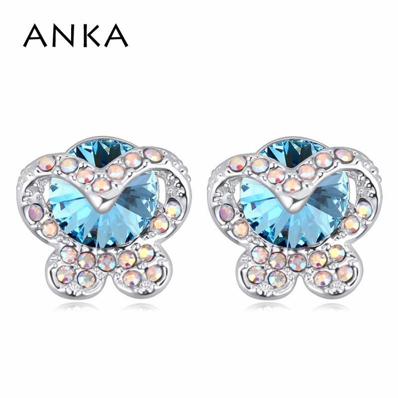 ANKA hot sale fine jewelry crystal stud earrings for women butterfly shape crystal earring Crystals from Austria #113989