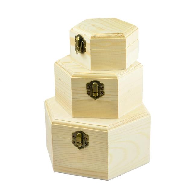 3Pcs 3Sizes Hexagon Wooden Watch Earrings Jewelry Treasure Case Storage Box Memorial Keepsake Container