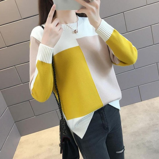 Autumn winter Women Sweater Pullover 2018 New Fashion Colorblock O-neck Loose Knit Bottom Sweater Large size Women Clothing