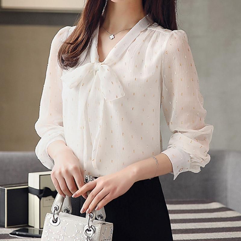 0c73eca5ff84d ... White Chiffon Blouse Shirt Long Sleeves 2018 Elegant V Neck Slim