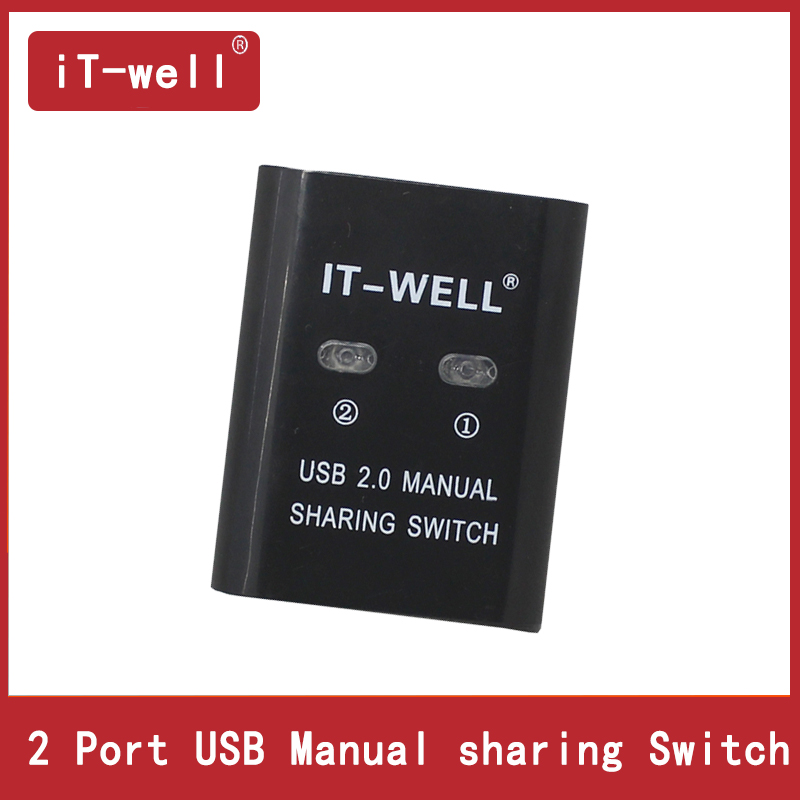 iT-well USB 2.0 Hub 2 Port/4 Port HUB Manual Sharing Switch Adapter Box Per Scanner Stampante 2/4 computers share a printer цена