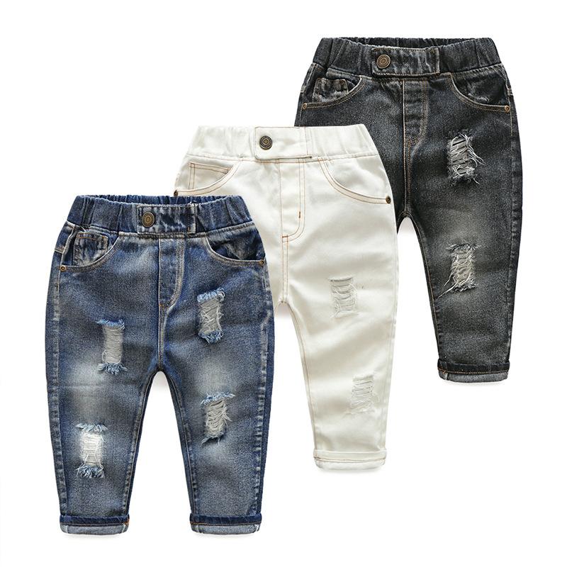 Hole Jeans For Boys Elastic Waist Kids Denim Trousers Kids Cowboy Harem Pants Solid Boy Jeans 2017 Spring Children Jeans 2-6 Y  (2)