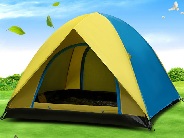 Free shipping High Quality Double Layer 3-4 Person Rainproof Anti-UV outdoor tent for Hiking Fishing Hunting Adventure