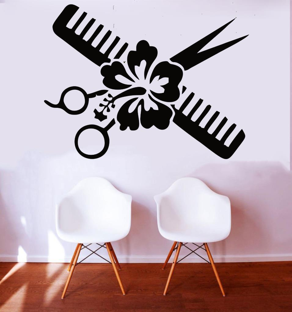 Simple Barber Shop Scissors Flower Comb Hairdressers Beauty Salon shop Haircut salon Wal ...