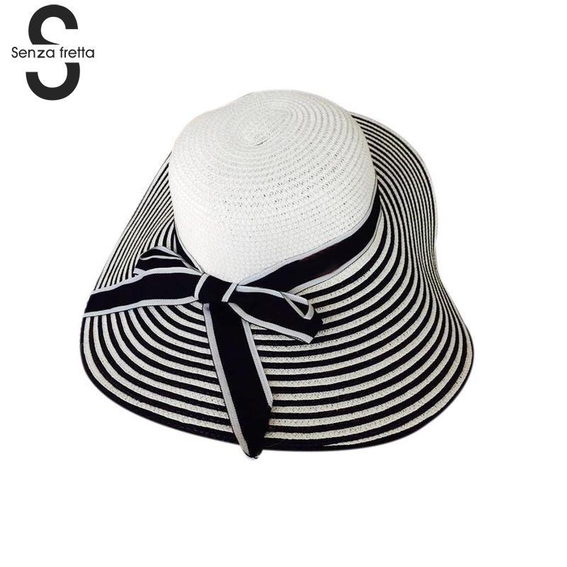 Otsuka Straw Hat Female Models Blue And White Striped Beach Hat Visor Apparel Accessories