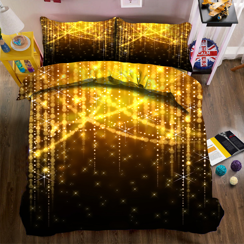 4/6 pièces ensemble de literie 3D lumières housse de couette ensemble drap de lit taille américaine super King size