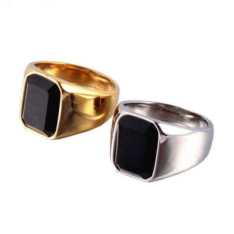 9dc1df372941 Anillo de acero inoxidable 316L oro y plata gema cuadrada negra para hombre  joyería de alta