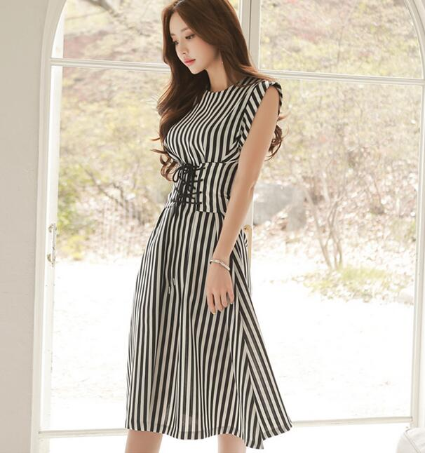 High Quality Best-selling <font><b>2018</b></font> <font><b>Sexy</b></font> Korean OL Stripe <font><b>Summer</b></font> New Arrival Collect Waist Round Collar Woman Slim Chiffon <font><b>Dress</b></font> image