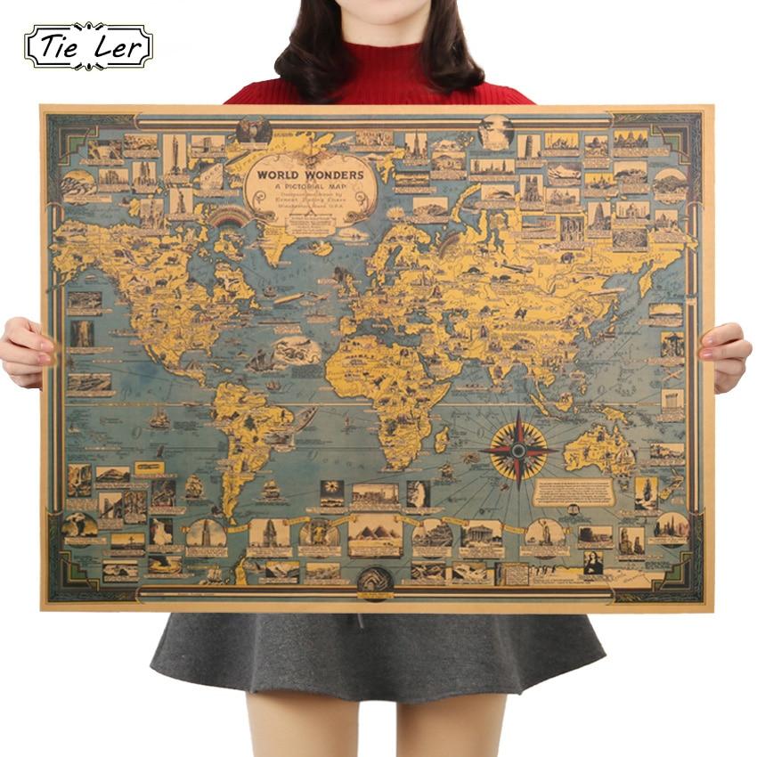 TIE LER Blue Vintage Kraft Paper Poster World Map Great Building Wall Sticker Art Craft Map Bar Cafe Decor 68.5X51.5cm