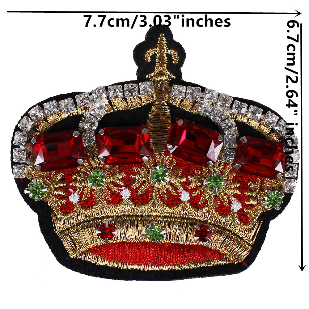 10piece Beads Crystal Crown Fabric Patches Applique Rhinestones Diamond Badges Patches Garment Brooches Decorated Craft TH751