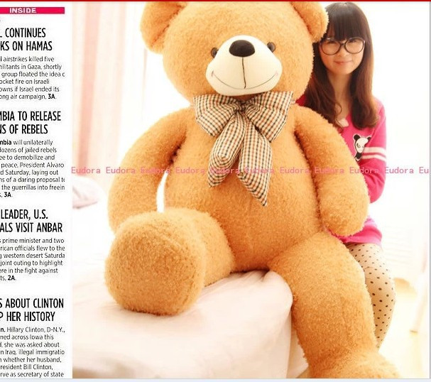 stuffed animal teddy bear plush toy about 150cm light brown tie bear doll 59 inch toy throw pillow  toy t927 stuffed animal 120cm tie teddy bear plush toy brown teddy bear doll gift t6095