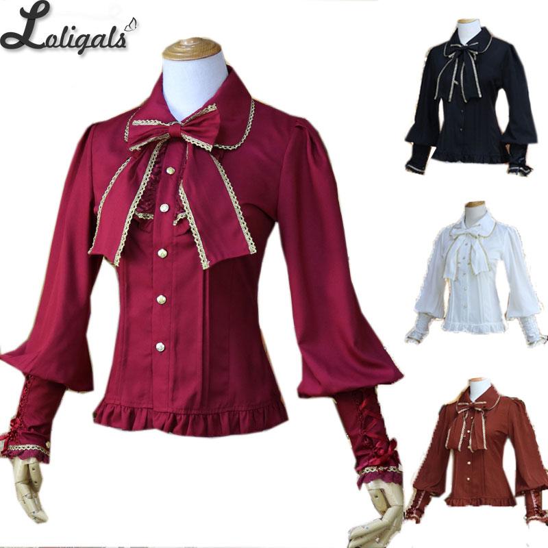 Vintage Women's Chiffon Blouse Long Lantern Sleeve Button Down Shirt 6 Colors