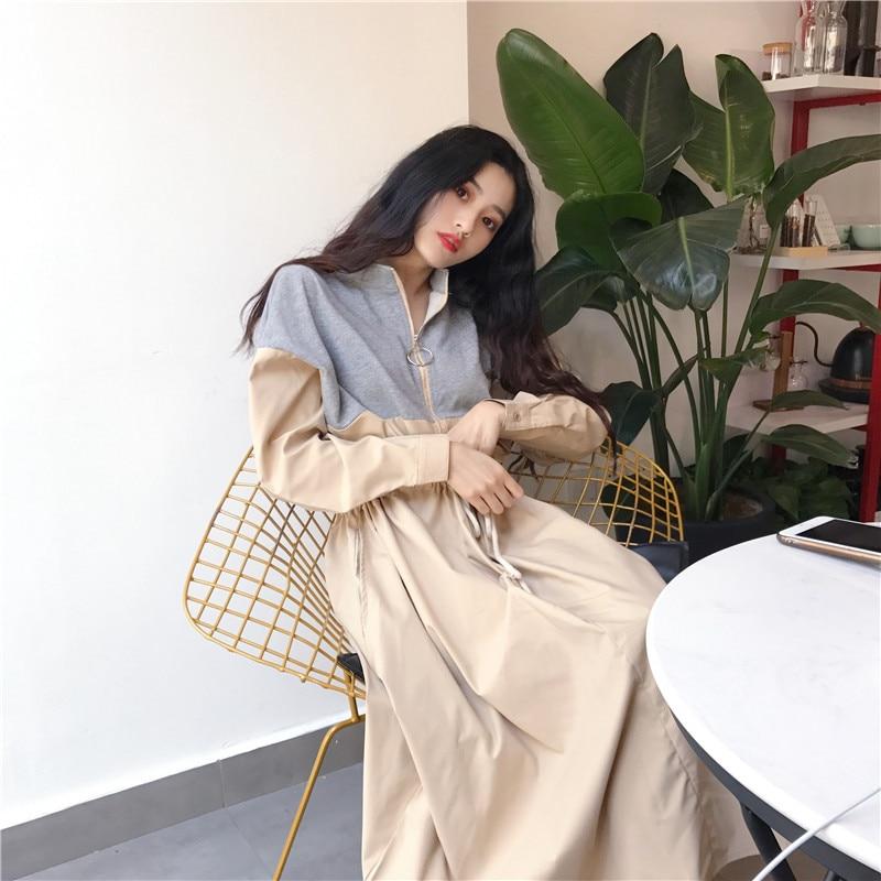 HTB1oaDEaZnrK1RjSspkq6yuvXXa3 - Spring / Autumn Mandarin Collar Long Sleeves Waist-Controlled Patchwork Zipper Midi Dress