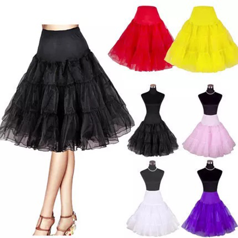 2019 Spring Cosplay Petticoat Woman Underskirt 65CM Length Knee Short Wedding Petticoat 3 Layers Puffy Organza Evening Tutu(China)