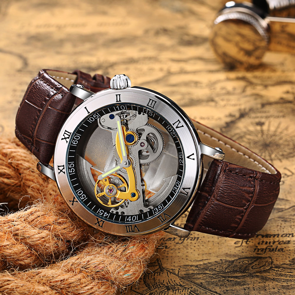 New Creative Watches Men 3ATM Waterproof Transparent Case  Automatic Mechanical Watch Mens Tourbillon Watches Relogio Masculino