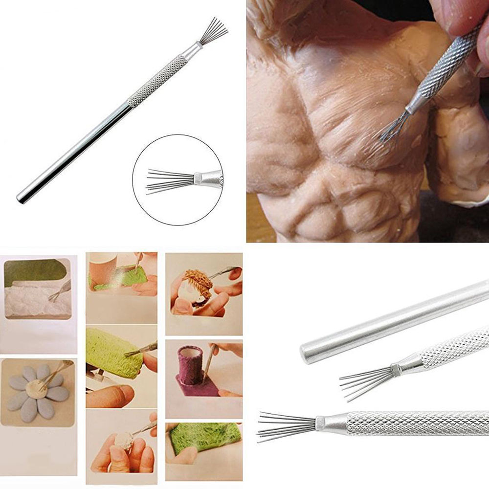 7 Pin Feather Wire Texture Pottery Ceramics Tools Polymer Clay Sculpting Modeling Tool Pottery Texture Brush Tools