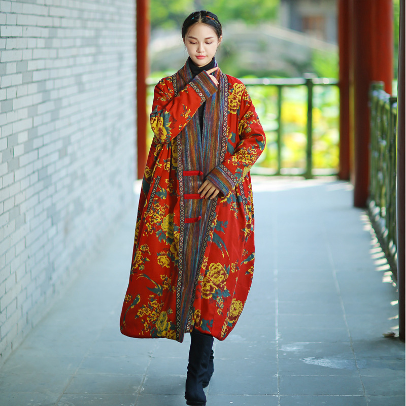 Johnature Winter   Parka   Women Jacket Coat 2018 New Vintage Robe Long Sleeve High Quality Warm Women Clothing Thick Print Coat