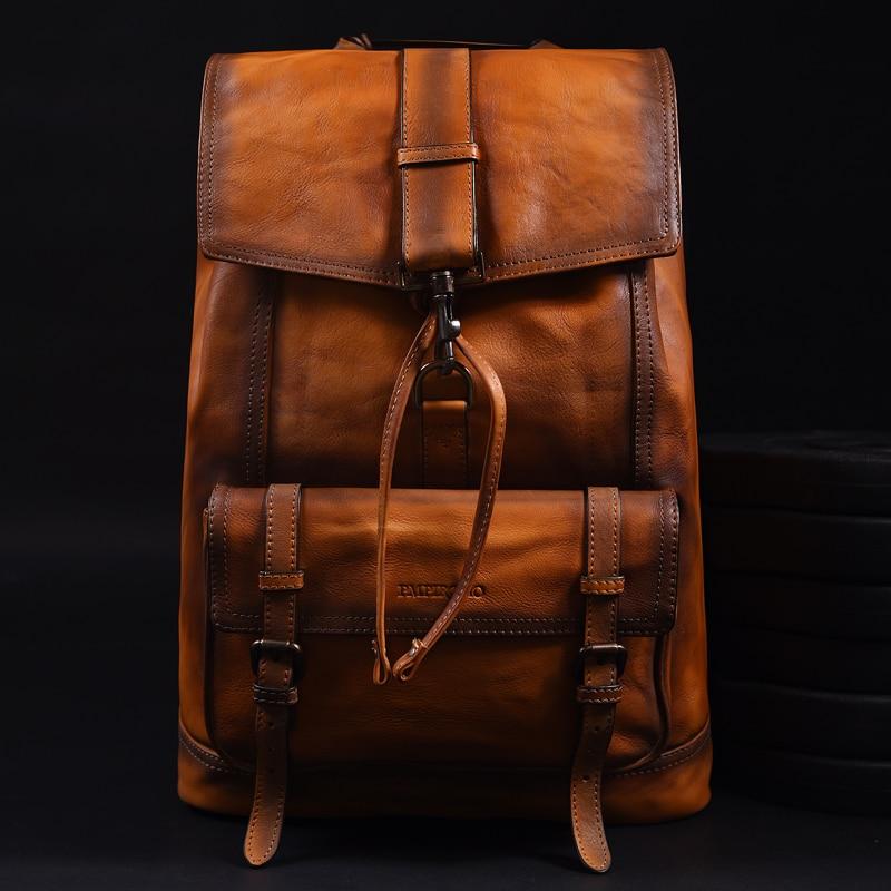 Mochila De marca Original hecha a mano, bolsa de piel de becerro importada italiana, bandolera doble de cuero auténtico Vintage de gran capacidad para hombres - 6