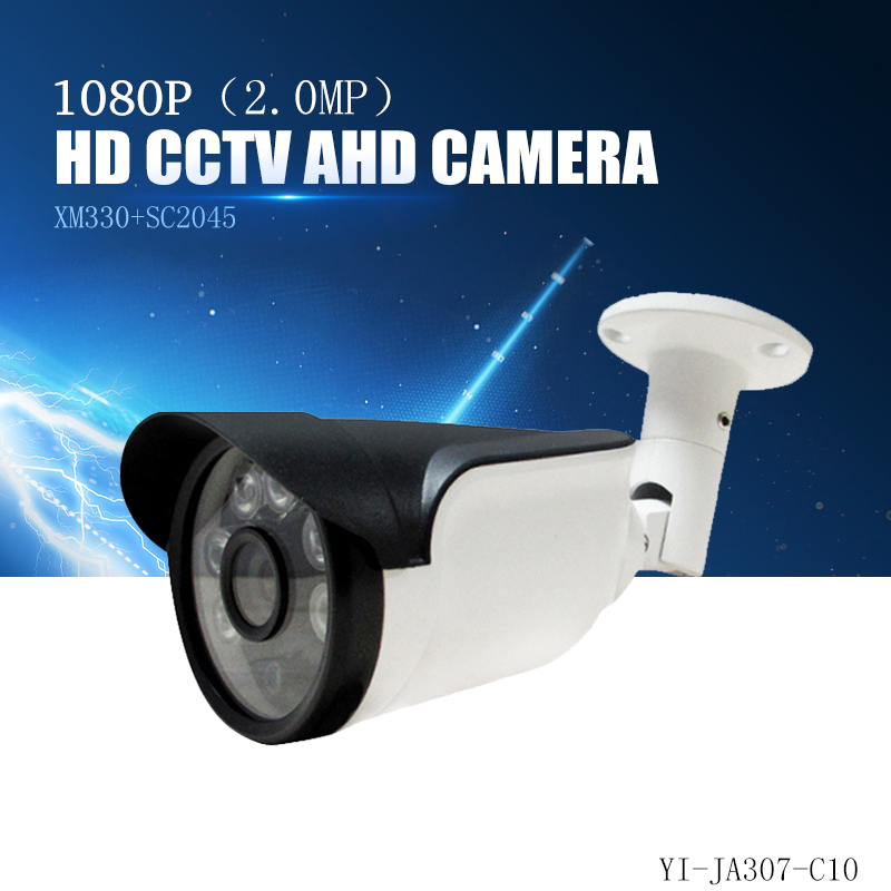 YiiSPO AHD 1080P bullet Camera 2.0MP analog Camera outdoor waterproof IR-cut XM330+SC2045 CCTV security camera AHD metal 75## 2017 newest security ahd 1080p 2 0mp waterproof ir metal cctv bullet camera system cheap product