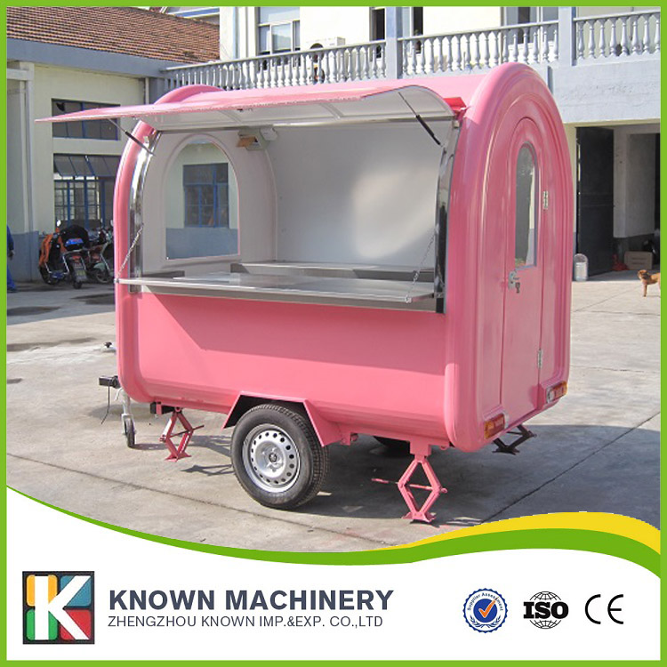 KN-220B mobile food carts/trailer/ ice cream truck/snack food carts for different colors with free shipping by sea multifunctional mobile food trailer cart fast food kitchen concession trailer