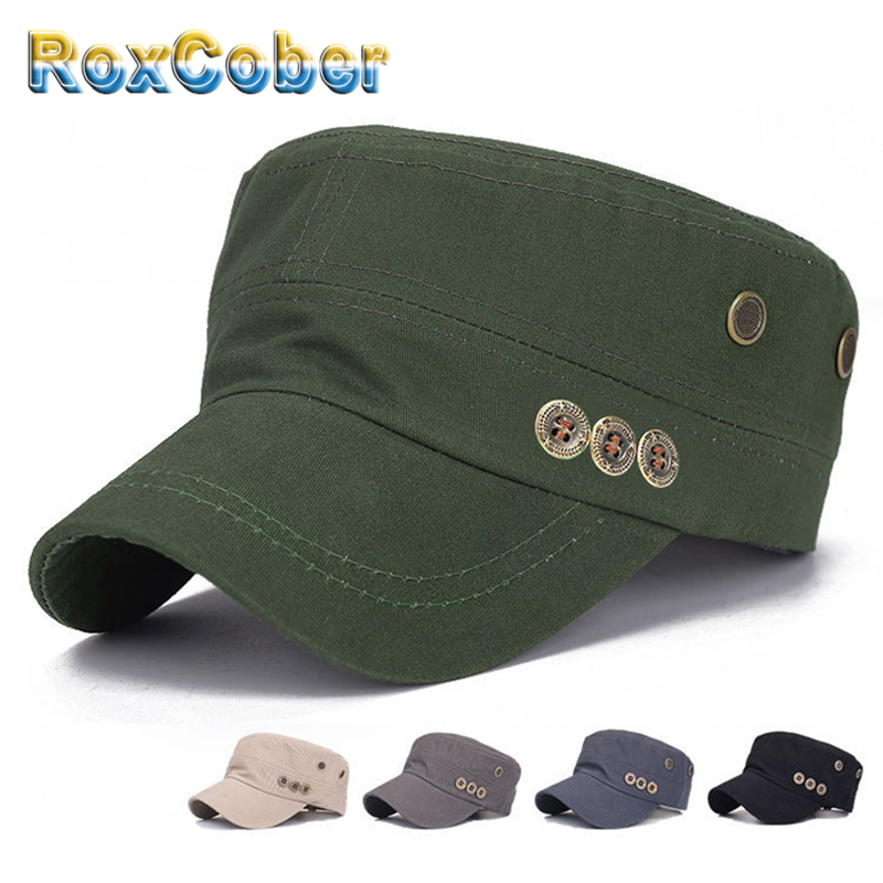 RoxCober   Fashion Button Army Flat Cap For Men Women Cotton Classic Vintage Military Hats Air Eye German Snapback Sun Hat 3036