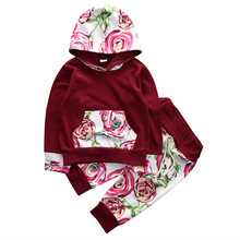 2016 Cute Floral Baby Girl Clothes Autumn Infant Bebes Hooded Sweatshirt Top+ Pant 2pcs Outfit Bebek Giyim Clothing Set