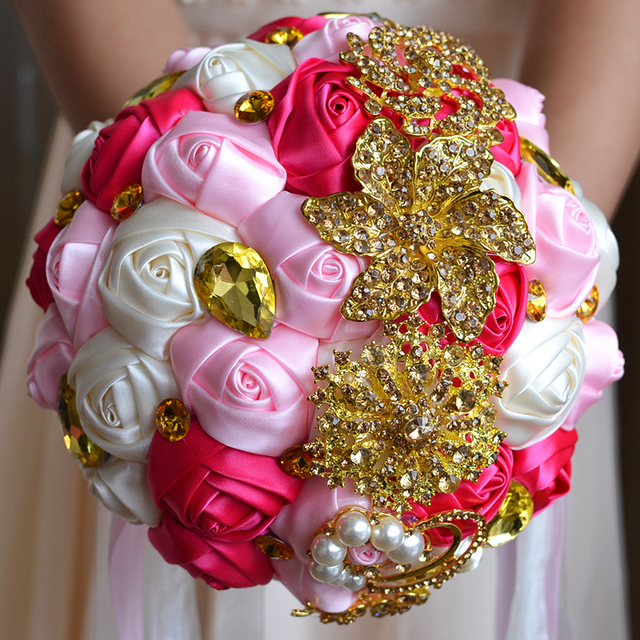 2017 Bridal Bridesmaid Wedding Bouquet Cheap Luxury Crystal Ivory&Pink&Fuchsia Handmade Artificial Rose Flower Bridal Bouquets
