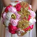 2017 dama de Honor Nupcial de La Boda Bouquet Barato Artificial Hecha A Mano de Cristal de Lujo de Marfil y Rosa y Fucsia Rosa Ramos de Flores de Novia