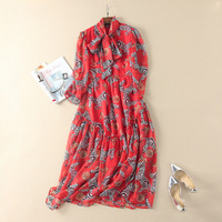Mifairy Red Collar Laces Up Long Sleeves Bohemian Long Dress Zebra Print Runway Dress Holiday Beach Maxi Gown 101452
