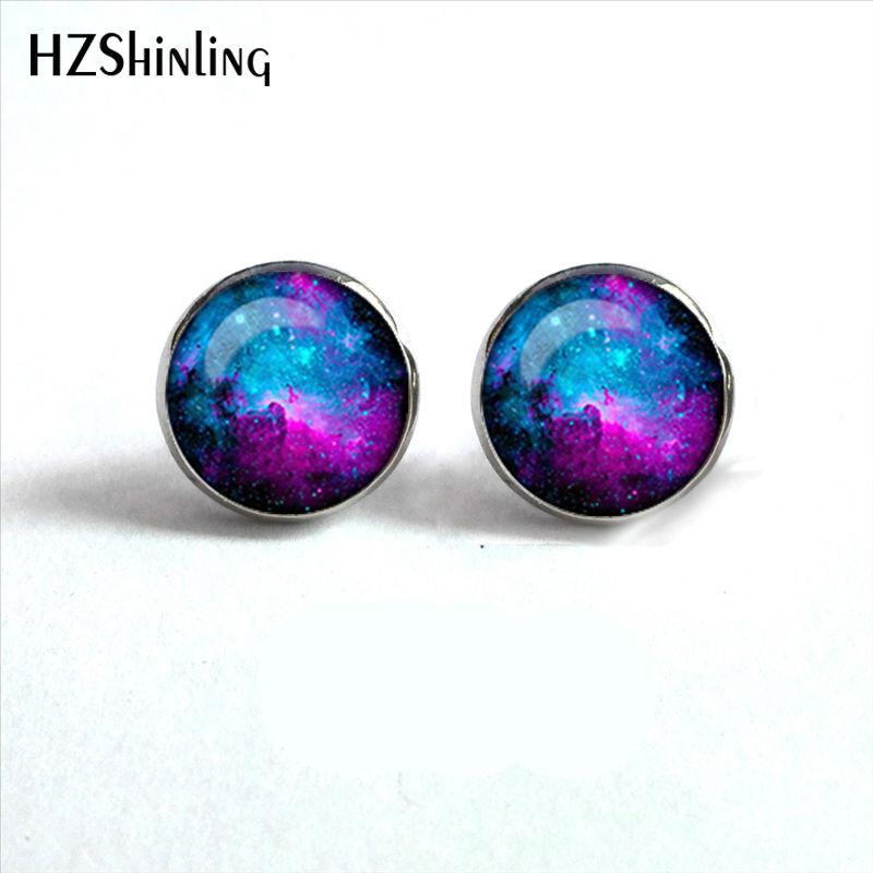 NES-0027  Nebula Galaxy Earrings Orion Nebula Glass Earrings Spiral Galaxy Jewelry Studs Earrings Glass Cabochon HZ4