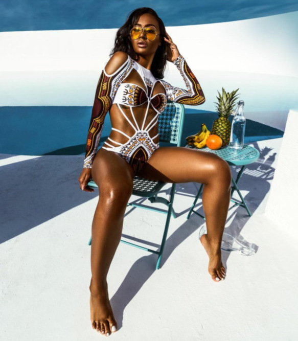 BJHOW African Print One Piece Swimsuit 2017 Women Trikini Long Sleeves Bandage Swimwear High Cut Monokini Bathing Suit BeachWear high neck one piece swimsuit women high cut thong swimwear sexy bandage trikini hollow out mesh bodysuit female zipper monokini