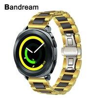 Black Ceramic + Gold Stainless Steel Watchband for Samsung Gear Sport SM R600 Garmin Vivoactive3 Watch Band Quick Release Strap
