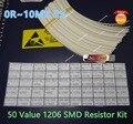 Envío gratis 1250 unids! 50 Valor 1206 SMD Resistor Kit (0R ~ 10MR) 5% 100% NUEVO Y ORIGINAL