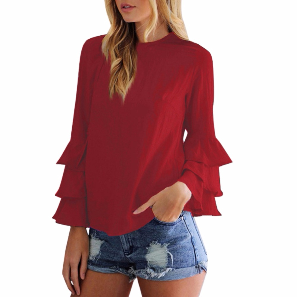 4 Colors Women   Blouse     Shirts   2019 Fashion Ladies   shirt   O-Neck Flounce Long Sleeve Solid Blusas Casual Loose Tops Plus Size 5XL