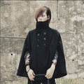 2017 Moda Coreano Harajuku Gótico Mens Casaco de Ervilha Casaco de Inverno Double Breasted Casaco De Lã Dos Homens Trench Coat manteau homme