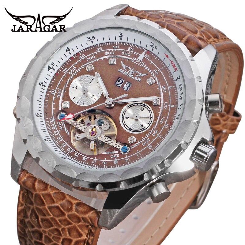JARAGAR hommes de luxe tout nouveau automatique à remontage automatique analogique affichage calendrier bracelet en cuir cristal montres JAG070M3S3