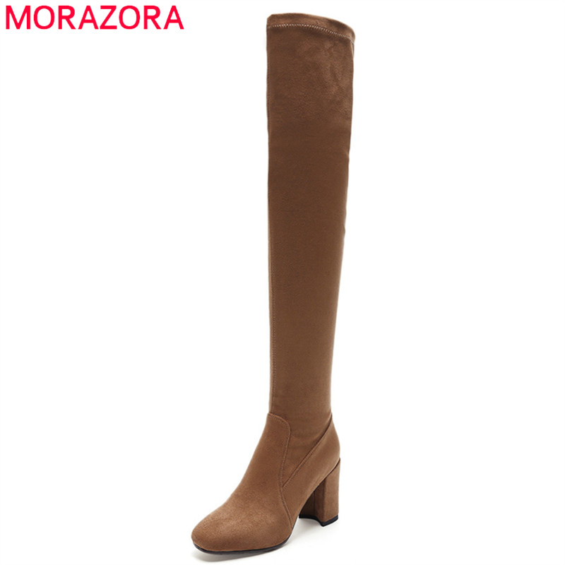MORAZORA 2018 fashion autumn new women boots pointed toe zip ladies boots sexy high heel thigh high boots eleagnt dress shoes jialuowei women sexy fashion shoes lace up knee high thin high heel platform thigh high boots pointed stiletto zip leather boots