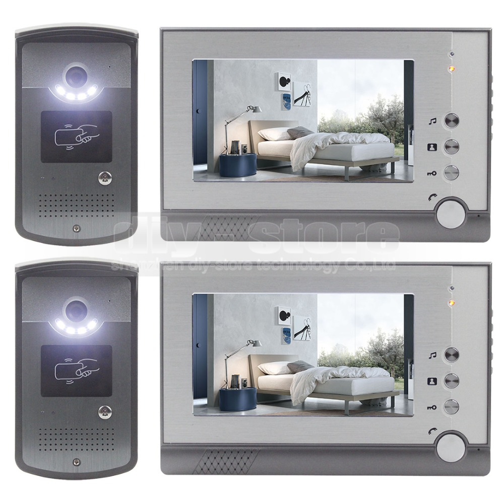DIYSECUR 2 Camera 2 Monitor 7 inch Video Door Phone Enter Intercom Hands free ID Unlocking
