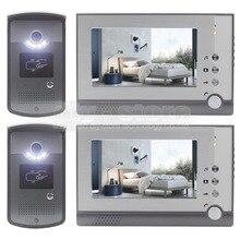 DIYSECUR 2 Camera 2 Monitor 7 inch Video Door Phone Enter Intercom Hands-free ID Unlocking LED Night Vision Camera