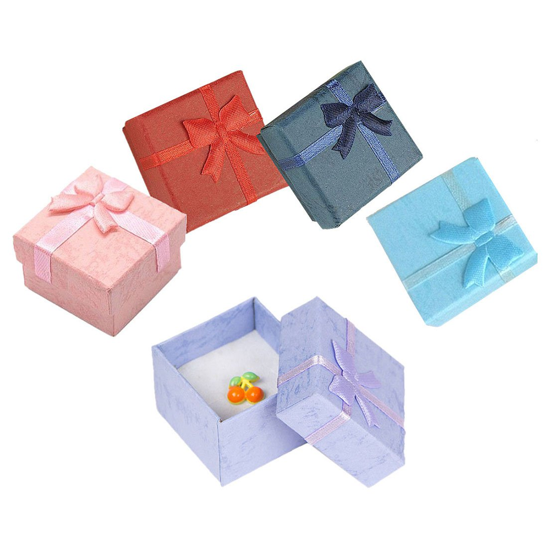 5 Pcs Fashion Colorful New Jewelry Organizer Box Rings Storage Cute Box Small Gift Box For Rings Earrings (3.5X3.5cm)