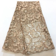 Hot Sale Gold Color African Lace fabric New Design french Tulle lace With Sequins Nigerian for wedding dressHX1349-1