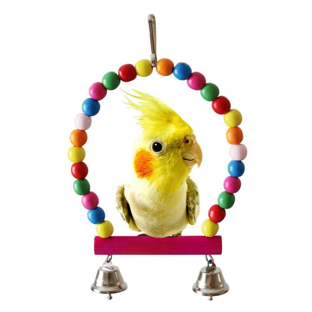 5/7pcs Bird Parrot Swing Toys with Hanging Bell Pet Bird Cage Hammock Swing Toy for Parakeets Cockatiels Conures Macaws